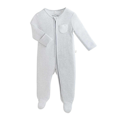 MORI Zip-up Sleepsuit - Grey-Sleepsuits- Natural Baby Shower