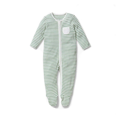 MORI Zip-up Sleepsuit - Sage Stripe-Sleepsuits- Natural Baby Shower