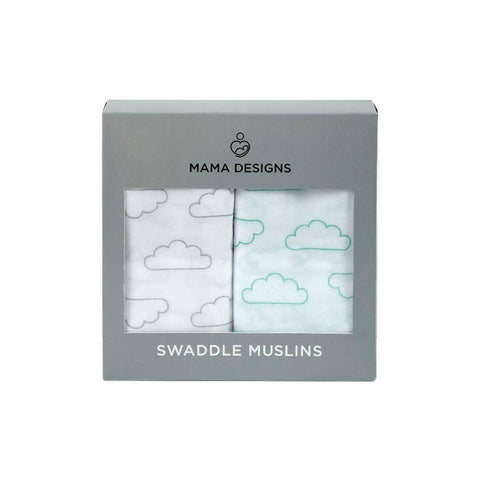 Mama Designs 2 Pack Muslin Swaddles - Cloud