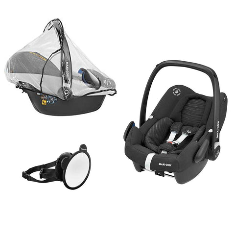Maxi-Cosi Rock, Mirror & Raincover - Scribble Black-Car Seats- Natural Baby Shower