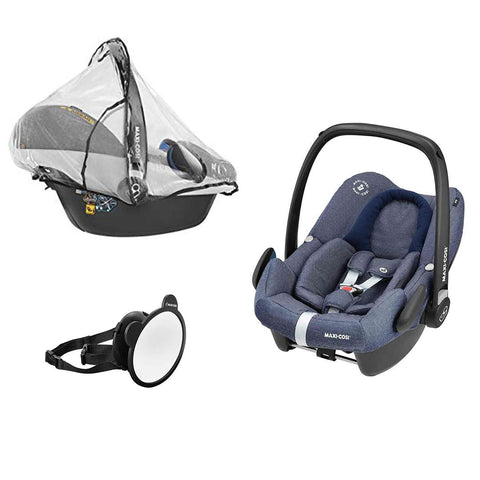 Maxi-Cosi Rock, Mirror & Raincover - Sparkling Blue-Car Seats- Natural Baby Shower