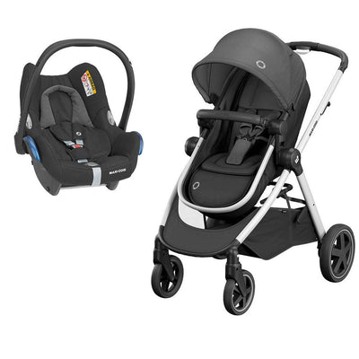 Maxi-Cosi Zelia Pushchair + CabrioFix Car Seat - Essential Black-Travel Systems- Natural Baby Shower