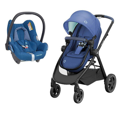 Maxi-Cosi Zelia Pushchair + CabrioFix Car Seat - Essential Blue-Strollers- Natural Baby Shower