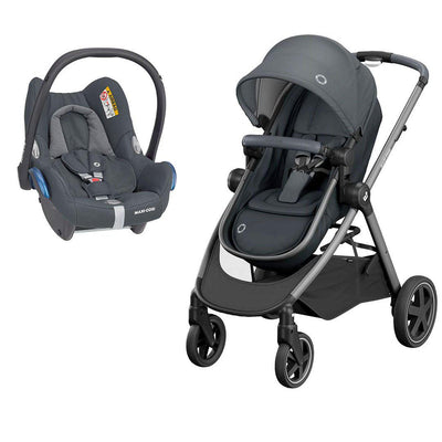 Maxi-Cosi Zelia Pushchair + CabrioFix Car Seat - Essential Graphite-Travel Systems- Natural Baby Shower