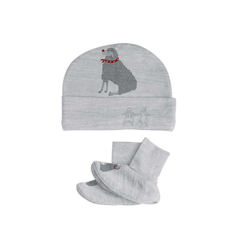Merino Kids Bootie & Hat Set - Light Grey Winter Sheep