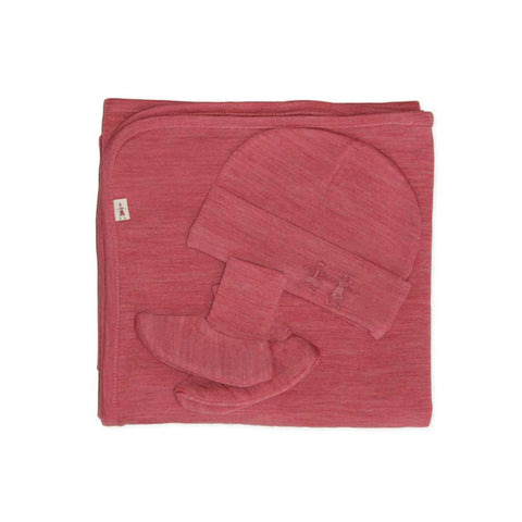 Merino Kids Cocooi Blanket, Bootie & Hat Set - Raspberry