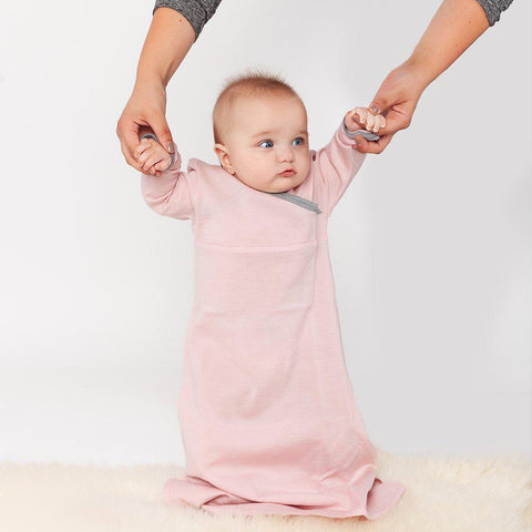 Merino Kids Cocooi Gown - Dusky Pink & Light Grey-Sleep Gowns- Natural Baby Shower