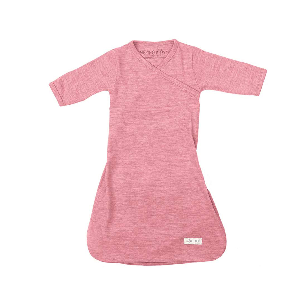 Merino Kids Cocooi Gown - Raspberry-Sleep Gowns-0-3m-Raspberry- Natural Baby Shower