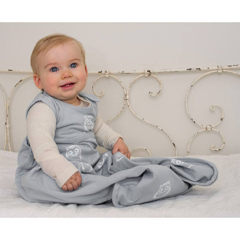 Merino Kids Go Go Baby Sleeping Bag - Standard - Owl Print Light Grey-Sleeping Bags-Baby-Light Grey- Natural Baby Shower