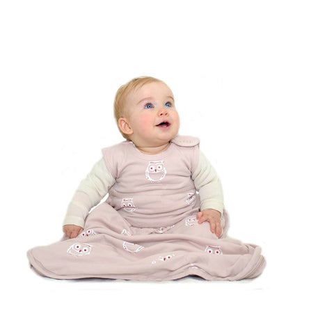 Merino Kids Go Go Toddler Sleeping Bag - Standard - Owl Print Light Pink-Sleeping Bags-2-4y-Light Pink- Natural Baby Shower