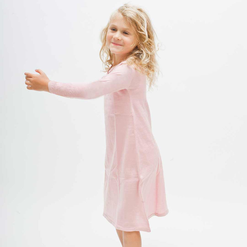 Merino Kids Gown in Light Pink – Natural Baby Shower