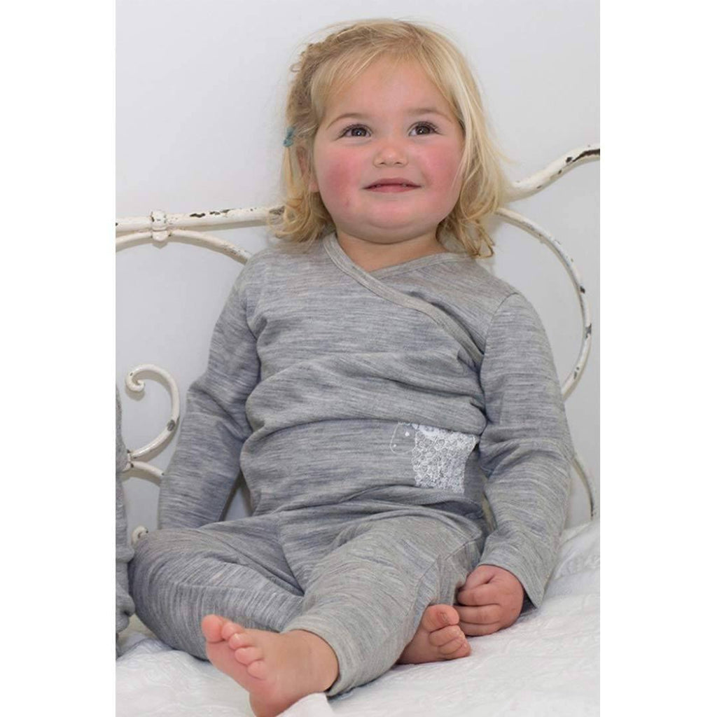 Merino Kids Pyjamas - Grey/Grey Lifestyle