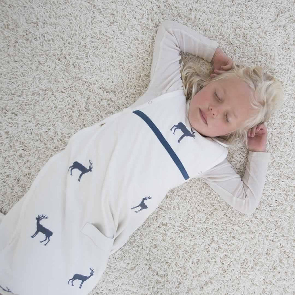 Merino Kids Baby Sleeping Bag - Standard Weight - Embroidery Navy Deer Lifestyle