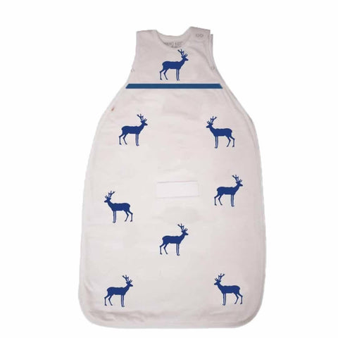 Merino Kids Baby Sleeping Bag - Standard Weight Embroidery Navy Deer