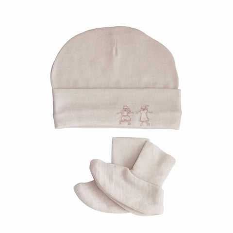 Merino Kids Cocooi Booties & Beanie Honey Oat