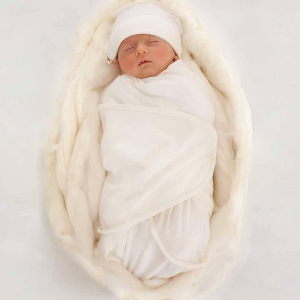 Merino Kids Cocooi Swaddle & Hat - Cream Lifestyle