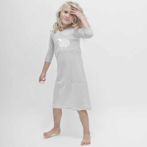 Merino Kids Essentials Gown in Light Grey