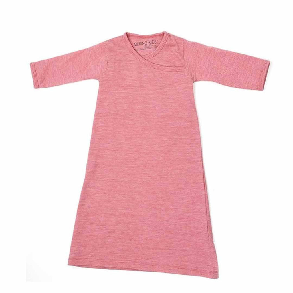 Merino Kids Essentials Gown - Raspberry-Sleep Gowns-3-12m-Raspberry- Natural Baby Shower