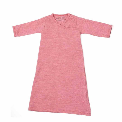 Merino Kids Essentials Gown in Raspberry