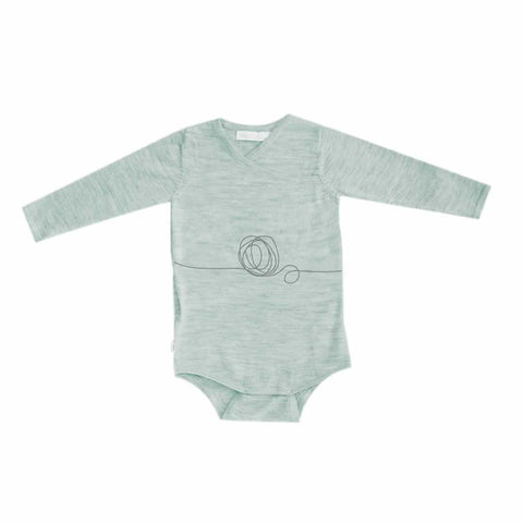 Merino Kids Long Sleeve Bodysuit in Green Print