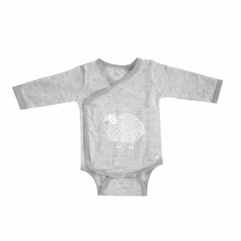Merino Kids Long Sleeve Bodysuit in Grey/Grey
