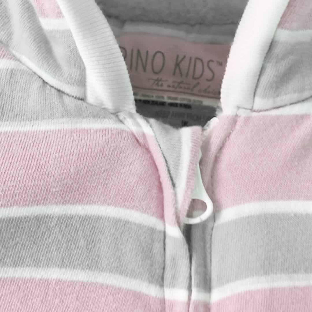 Playsuits & Rompers Merino Kids Playsuit - Pink/Grey Stripe