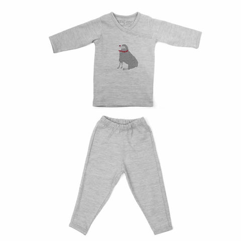 Merino Kids Pyjamas - Light Grey Winter Sheep