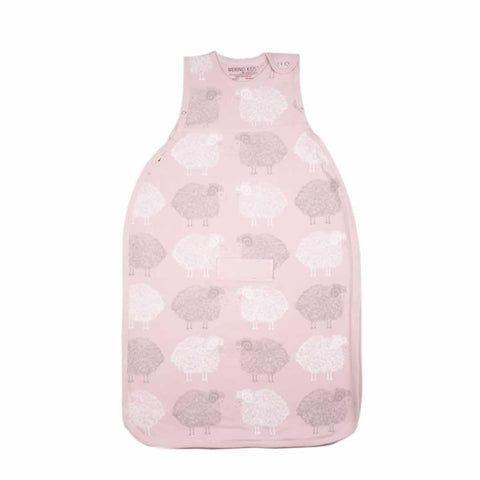 Merino Kids Baby Sleeping Bag - Standard Weight Stacked Sheep Light Pink