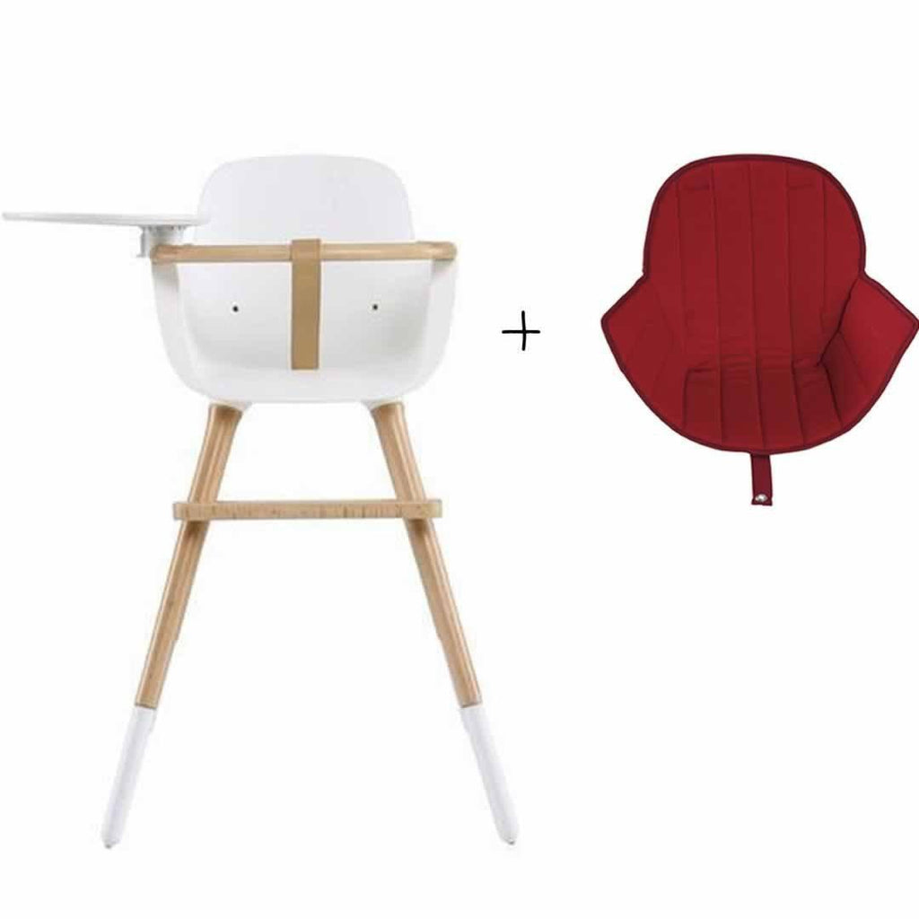 Micuna Ovo Luxe High Chair and Red Seat Fabric