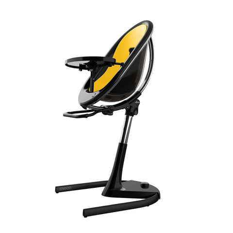 Mima Moon Highchair - Black with Yellow Seat Pad-High Chairs- Natural Baby Shower