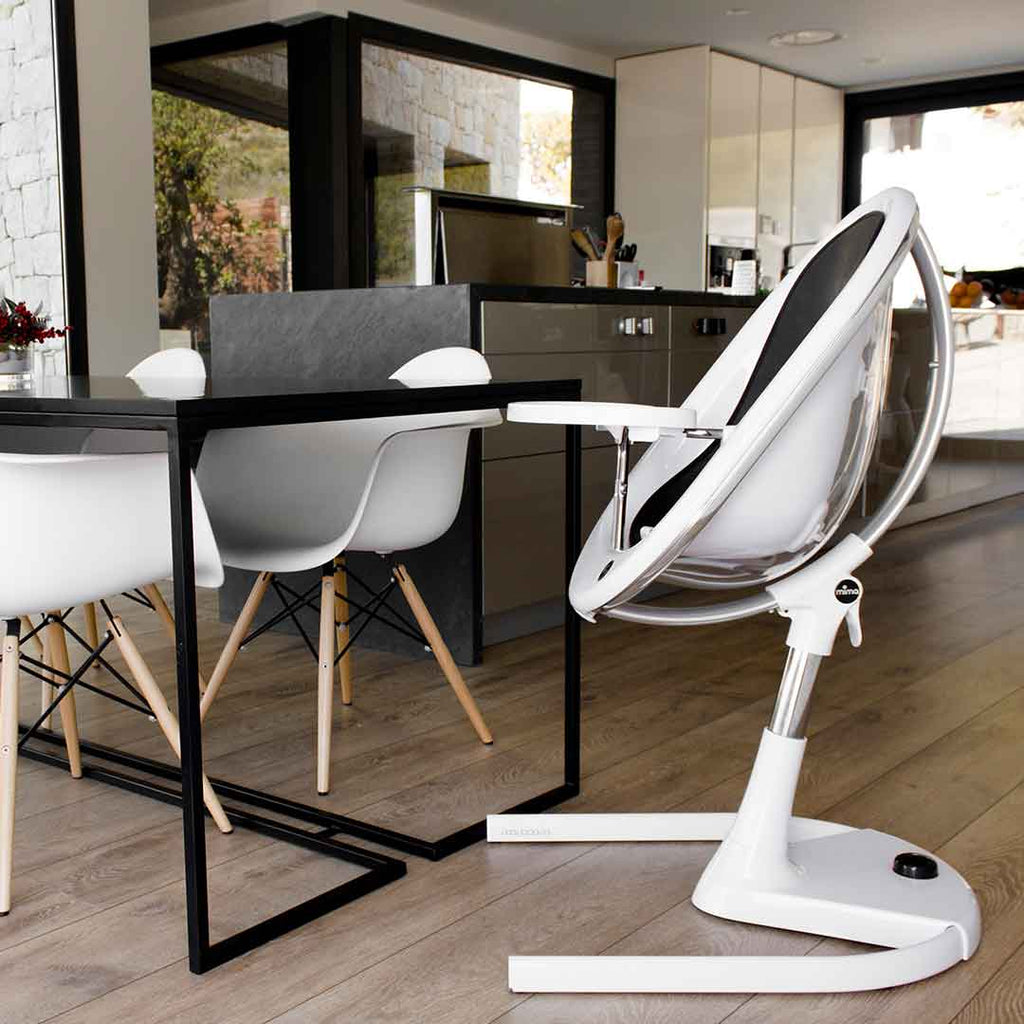 Mima Moon Highchair - White with Black Seat Pad-High Chairs- Natural Baby Shower