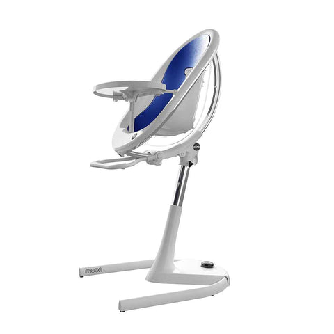 Mima Moon Highchair - White with Royal Blue Seat Pad-High Chairs- Natural Baby Shower