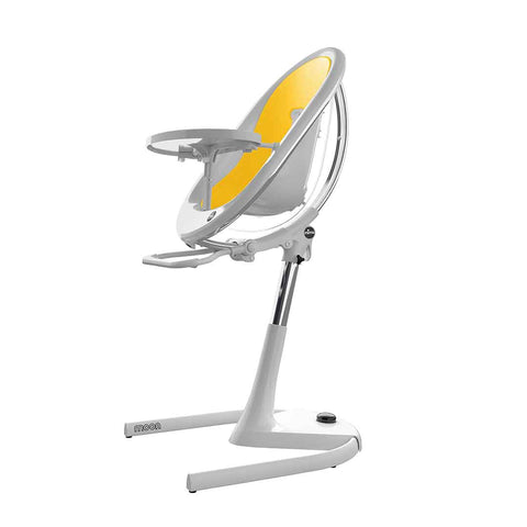 Mima Moon Highchair - White with Yellow Seat Pad-High Chairs- Natural Baby Shower