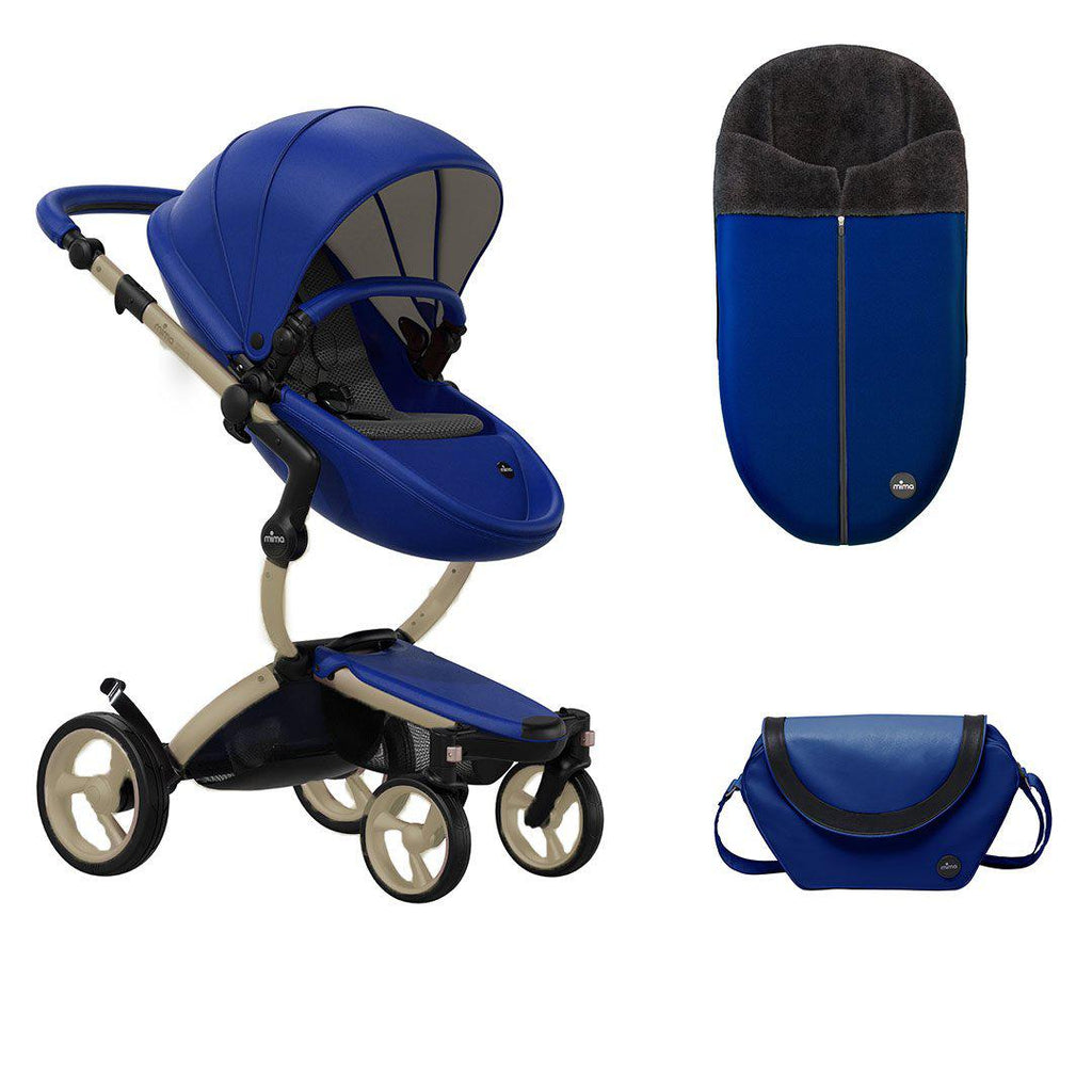 Mima Xari Pushchair Bundle - Royal Blue-Strollers-Champagne- Natural Baby Shower