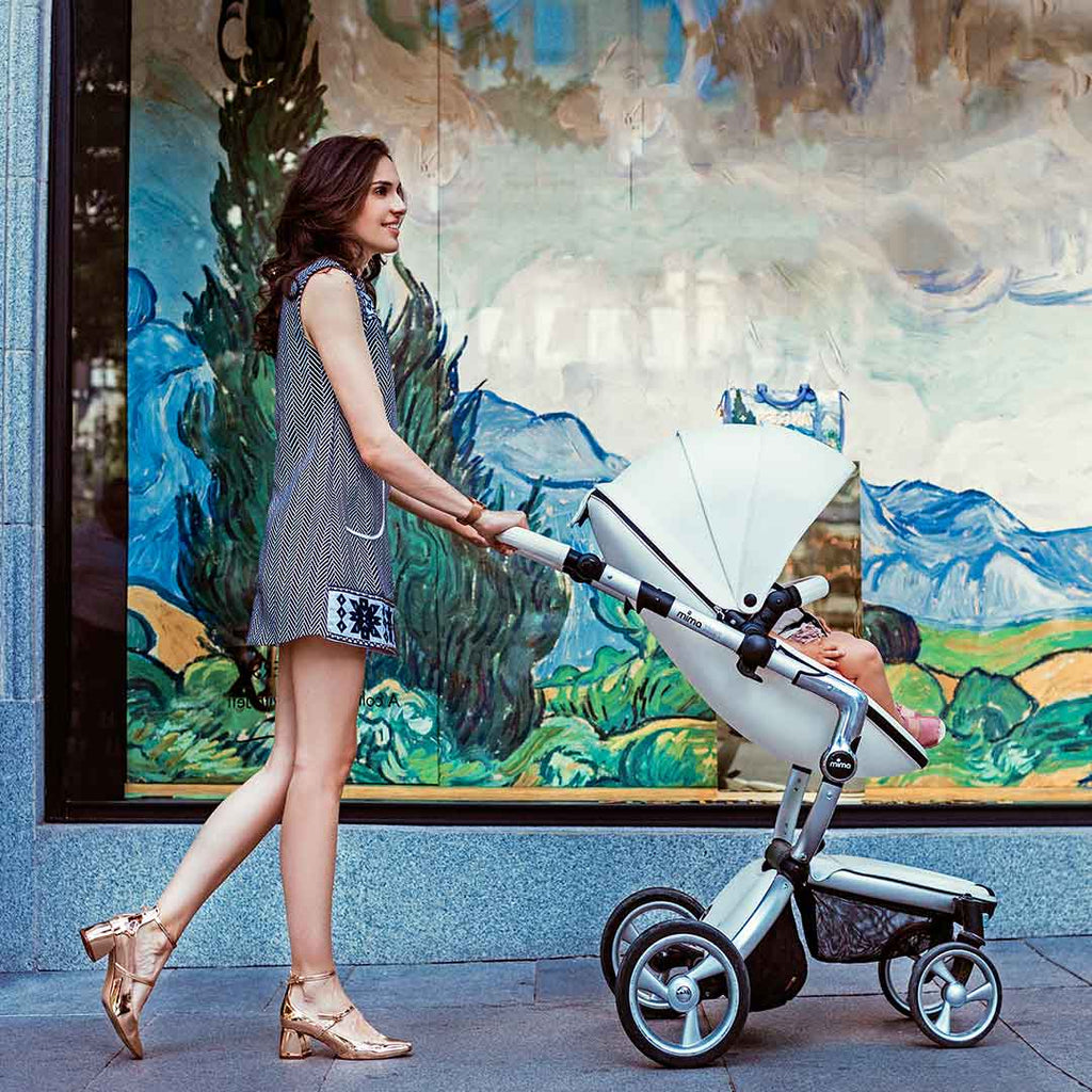 Mima Xari Single Pushchair - Snow White with Rose Gold Chassis-Strollers- Natural Baby Shower