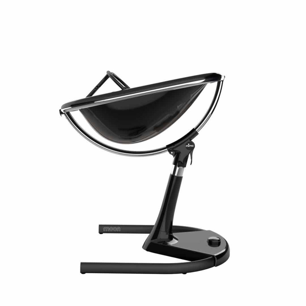 Mima Moon Highchair - Black with Snow White Seat Pad Side