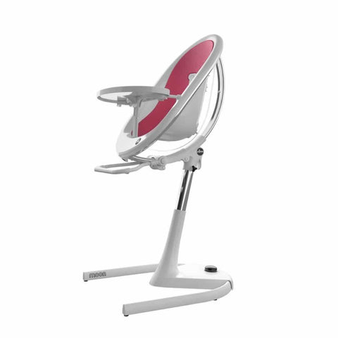 Mima Moon Highchair - White with Fuchsia Seat Pad-High Chairs- Natural Baby Shower