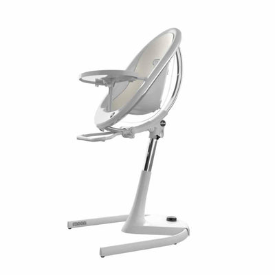 Mima Moon Highchair - White with Snow White Seat Pad-Highchairs- Natural Baby Shower