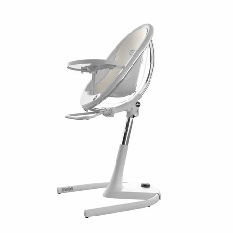 Mima Moon Highchair - White with Snow White Seat Pad-High Chairs- Natural Baby Shower