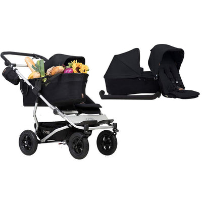 Mountain Buggy Duet Single Pushchair + Family Pack - Black-Strollers- Natural Baby Shower