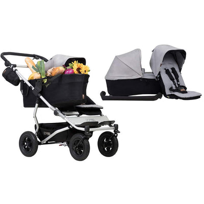 Mountain Buggy Duet Single Pushchair + Family Pack - Silver-Strollers- Natural Baby Shower