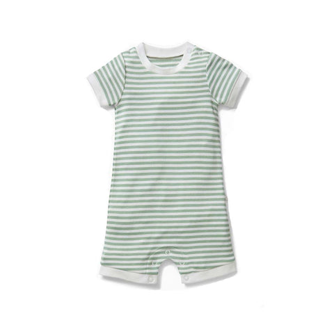 MORI Summer Sleepsuit - Sage Stripe-Sleepsuits- Natural Baby Shower