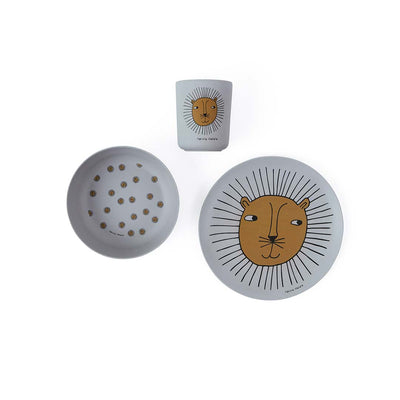 OYOY Bamboo Tableware Set - Lion - Grey-Bowls & Plates- Natural Baby Shower