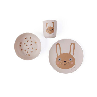 OYOY Bamboo Tableware Set - Rabbit - Rose-Bowls & Plates- Natural Baby Shower