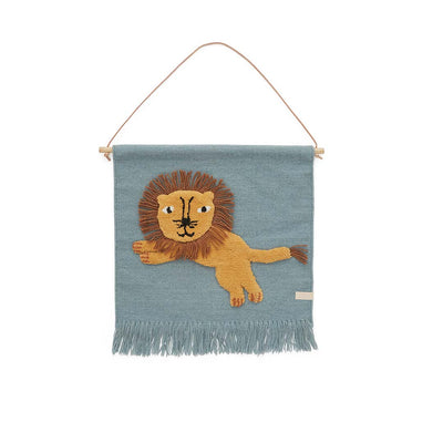 OYOY Jumping Lion Wallhanger - Tourmaline-Artwork & Stickers- Natural Baby Shower