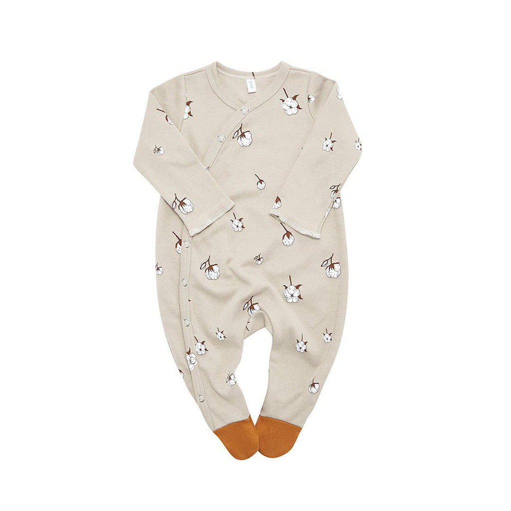 Organic Zoo Suit with Feet - Cotton Flower-Rompers- Natural Baby Shower
