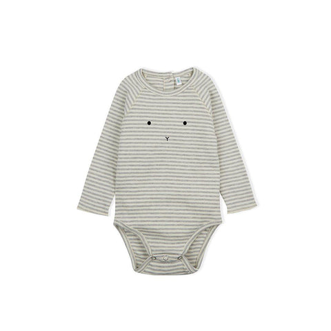 Organic Zoo Bunny Bodysuit - Grey Stripes-Bodysuits- Natural Baby Shower