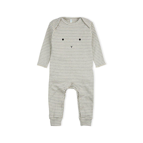Organic Zoo Bunny Playsuit - Grey Stripes-Rompers- Natural Baby Shower