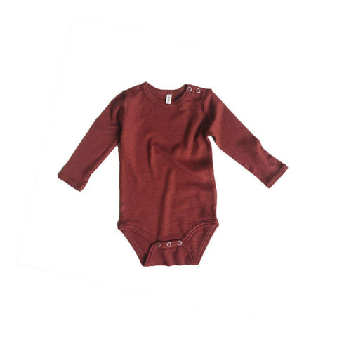 Organic Zoo Merino Wool Bodysuit - Burgundy-Bodysuits- Natural Baby Shower