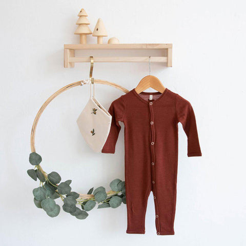 Organic Zoo Merino Wool Onesie - Burgundy-Rompers- Natural Baby Shower